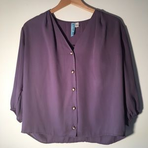 Pretty Purple Blouse Pearl Buttons
